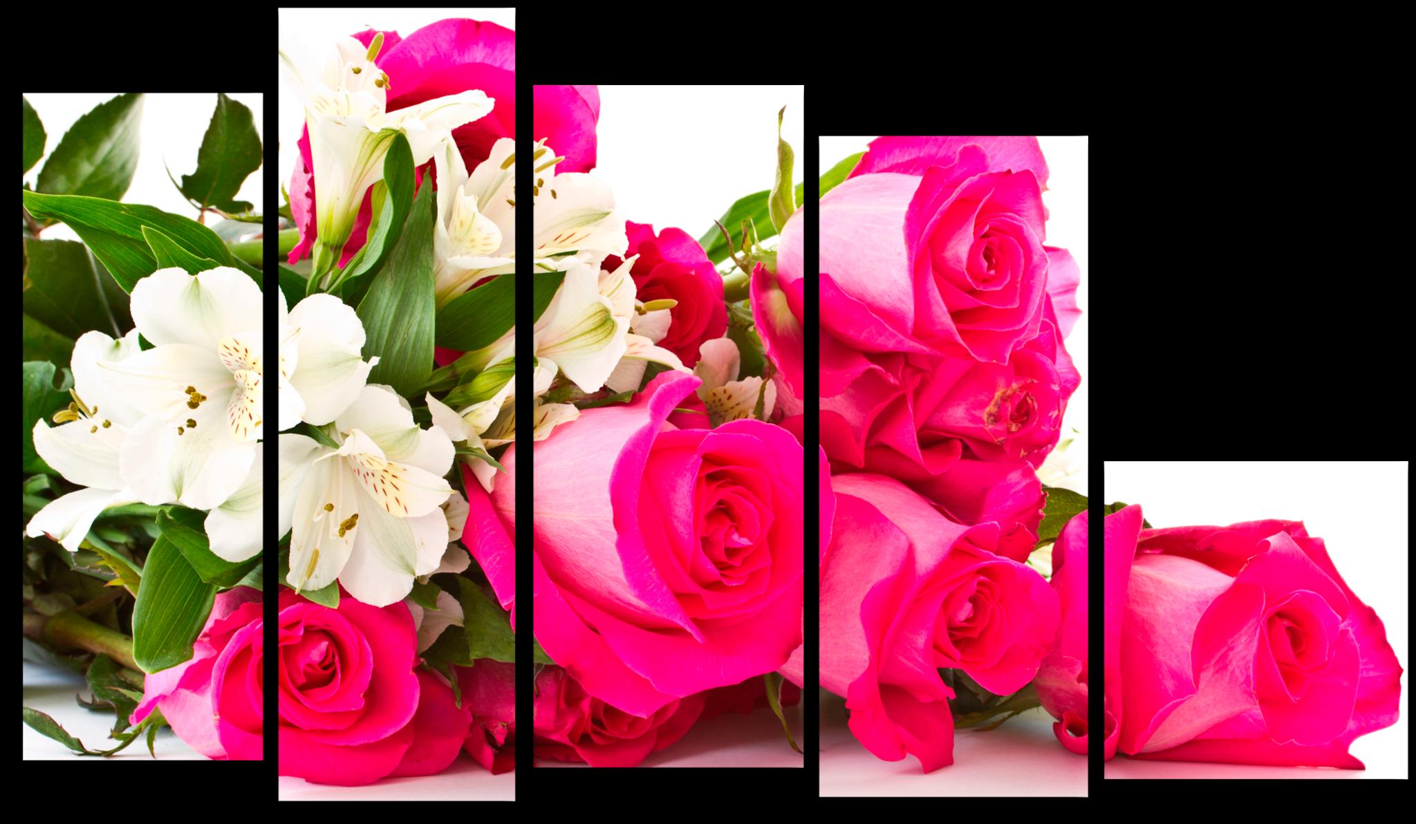 """Цветы Модульная картина """"Розовые розы"""" М672.png"""