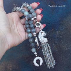 Ожерелье из натурального матового  лабрадорита