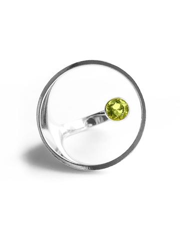 Серебряное кольцо круг с хризолитом