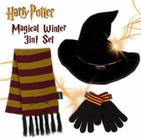 Harry Potter Hat Scarf Gloves Set, Gryffindor Scarf and Wizard Hat for Girls