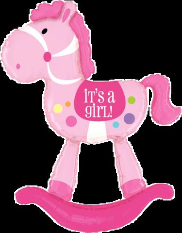 Фигура ходячая Лошадка качалка розовая
