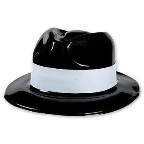 Шляпа пласт Гангстер с белой полосой/А