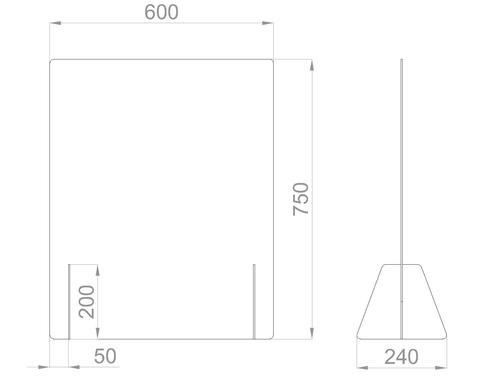 Настольный экран Ш. 600мм, В. 600/750 мм