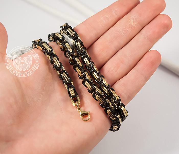 PM183 Оригинальная цепь из стали со звеньями черного и золотого цветов (60 см) фото 03