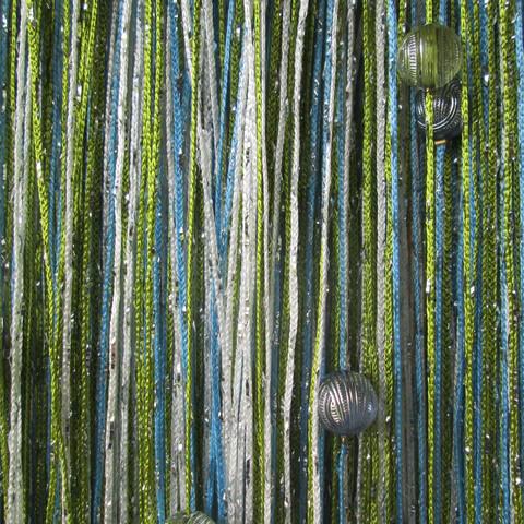 Шторы дождь радуга с шарами - Белые, голубые, зеленые. Ш-300см., В-280см. Арт.105