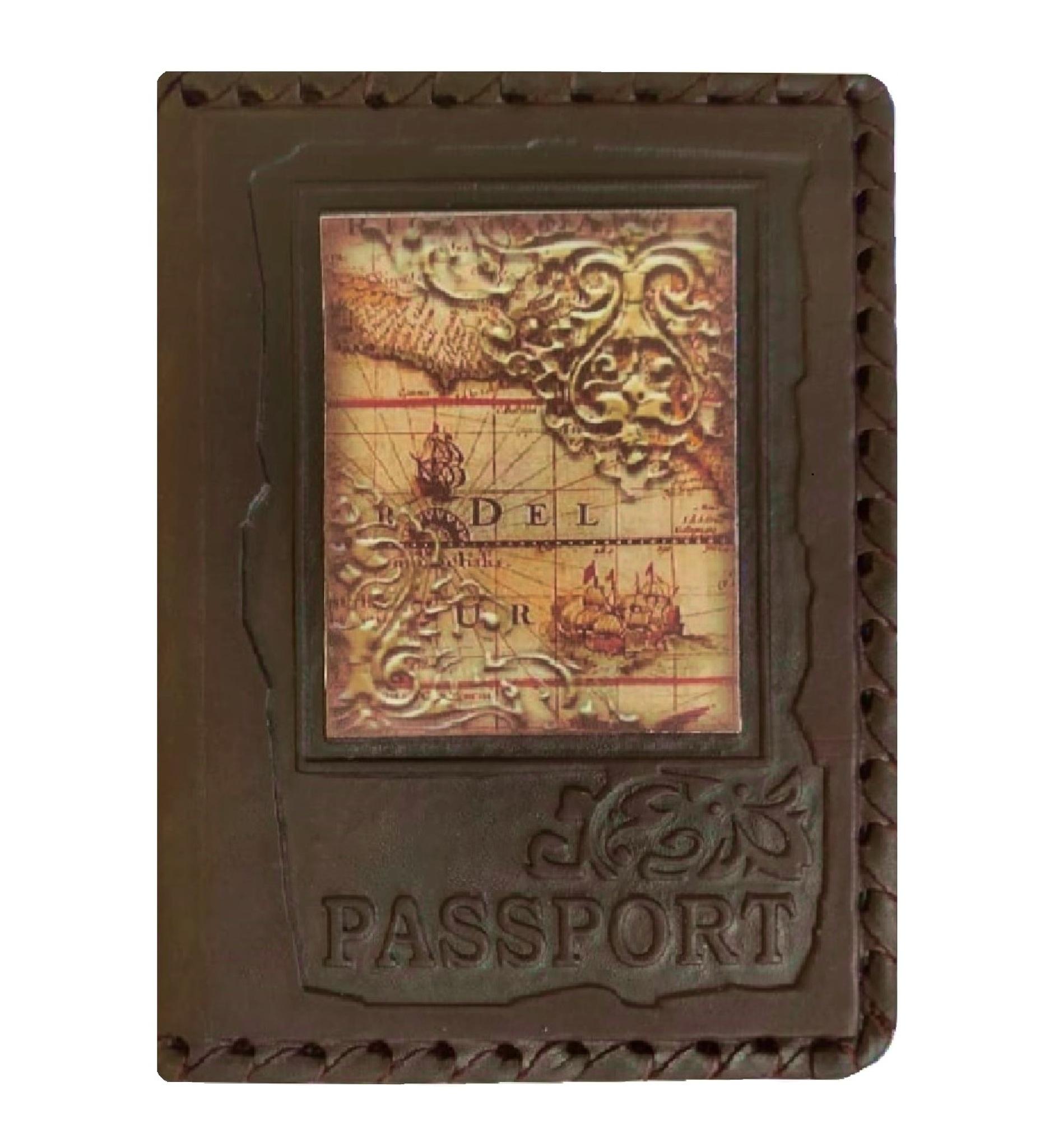 Обложка на паспорт   Карта   Коричневый