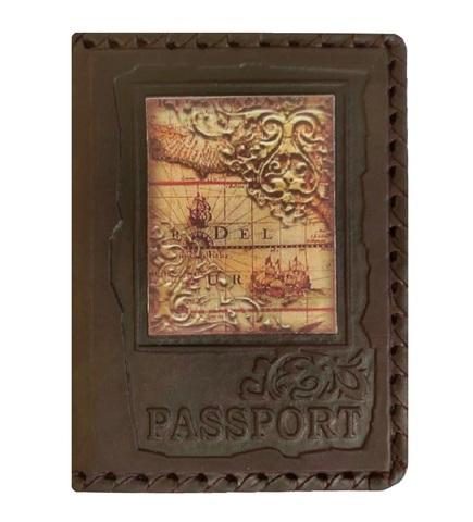 Обложка на паспорт «Карта». Цвет коричневый