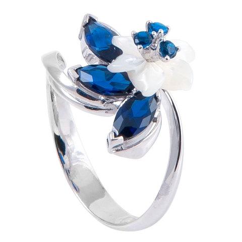 Кольцо с цветами из перламутра и сапфиром Арт.1212бпс