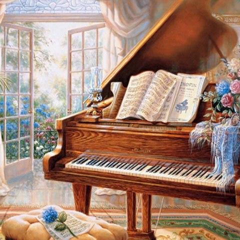 Алмазная Мозаика 30x40 Игра на фортепиано