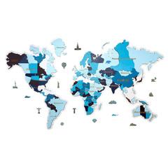 Карта мира из дерева blue фото 1