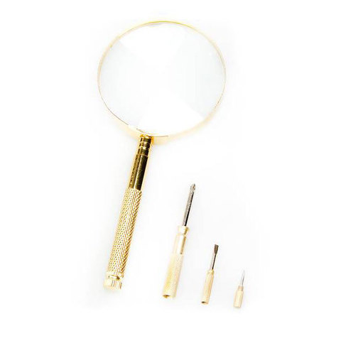 Лупа с ручкой и отвертками Veber 599912, 2,5x, 100 мм
