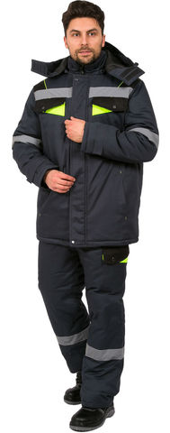 Костюм Ховард зимний (Балтекс, пл 210) куртка,брюки т.серый/лимон