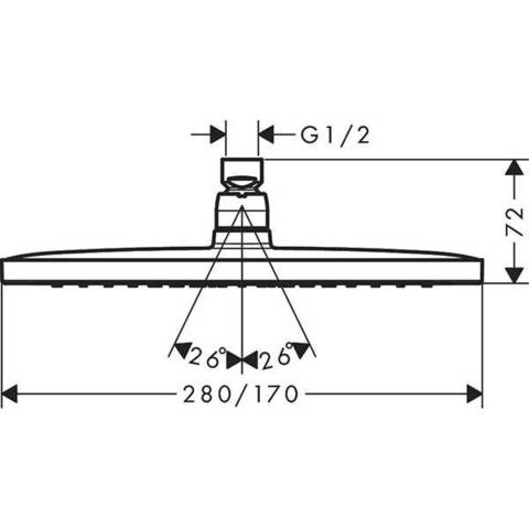 Верхний душ Hansgrohe Croma E 280 1jet 26257000 схема
