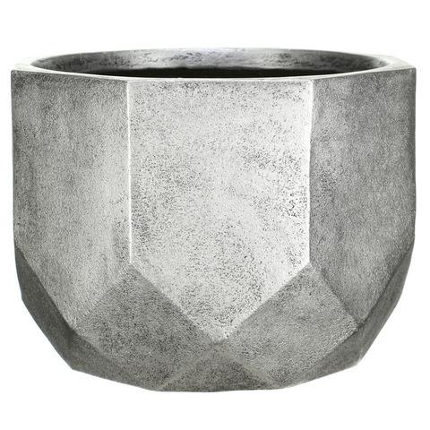 DROUND46-SLV Кашпо Геометри Круглое, файберстоун, серебро, D46 H32 cm
