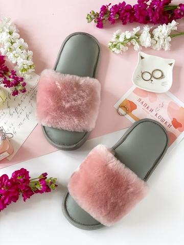 Меховые тапочки розовые с цельной шлейкой с кожаной стелькой светло-серой