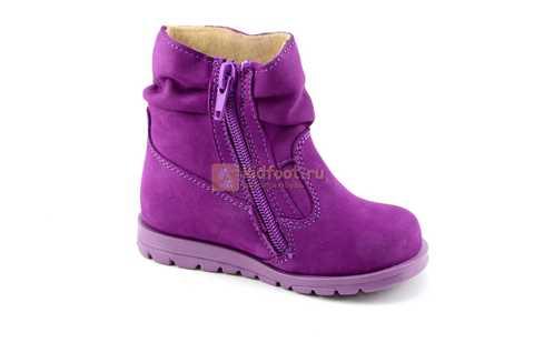 Полусапожки демисезонные Тотто из натуральной кожи на байке для девочек, цвет фиолетовый. Изображение 2 из 13.