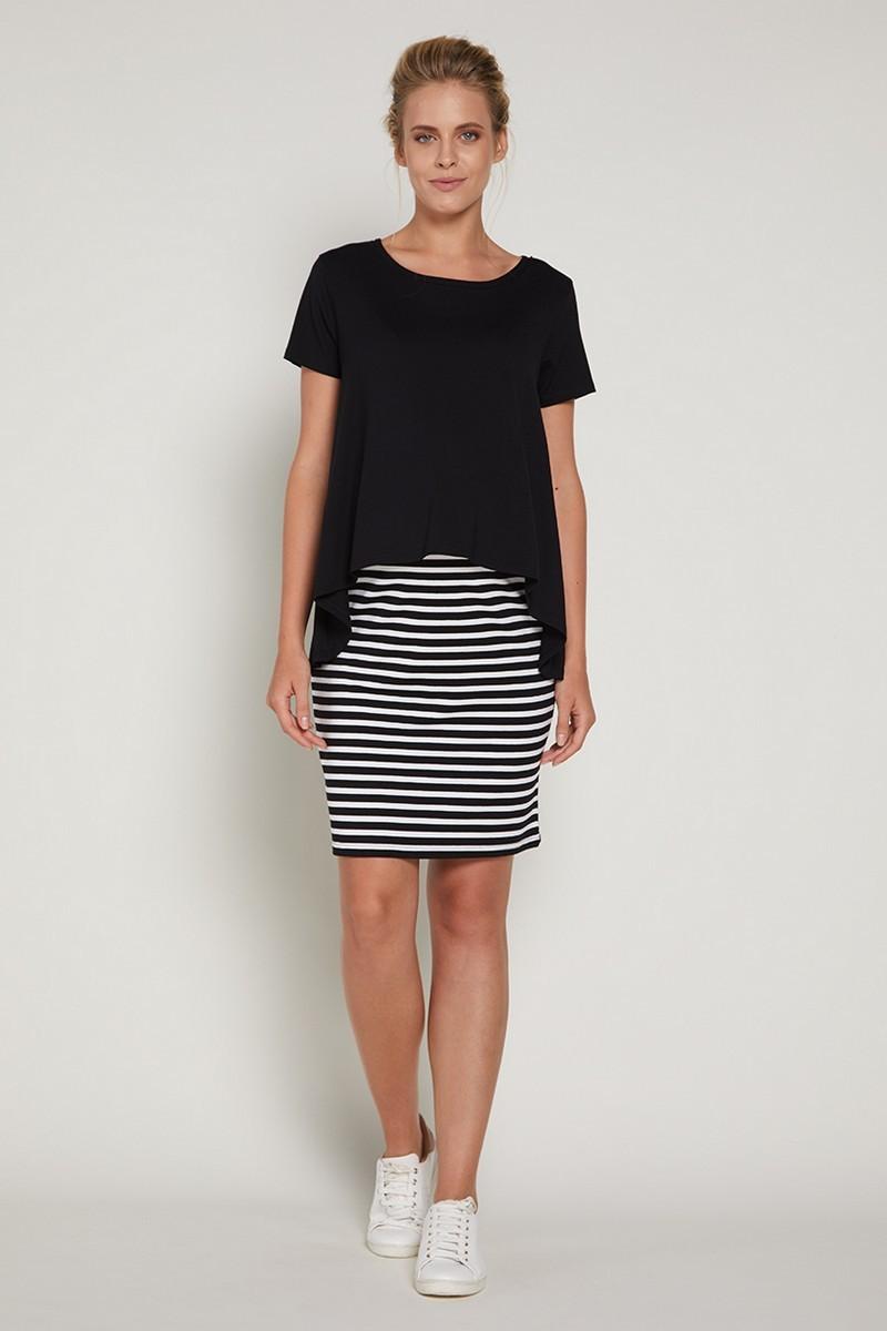 Фото платье для беременных GEBE от магазина СкороМама, черно-белый, размеры.