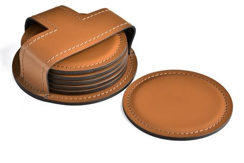 Набор костеров (6 шт) из кожи цвет ТАБАК