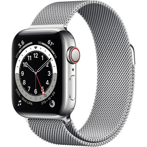 Часы Apple WatchSeries 6 (GPS + Cellular, 40mm, Silver Stainless Steel, Silver Milanese Loop) (Серебристый) (M02V3,M06U3)