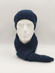 Мужской молодежный комплект шапка бини/ колпак и шарф, синий меланж