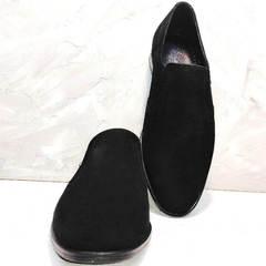 Красивые замшевые туфли классика мужские Ikoc 3410-7 Black Suede.