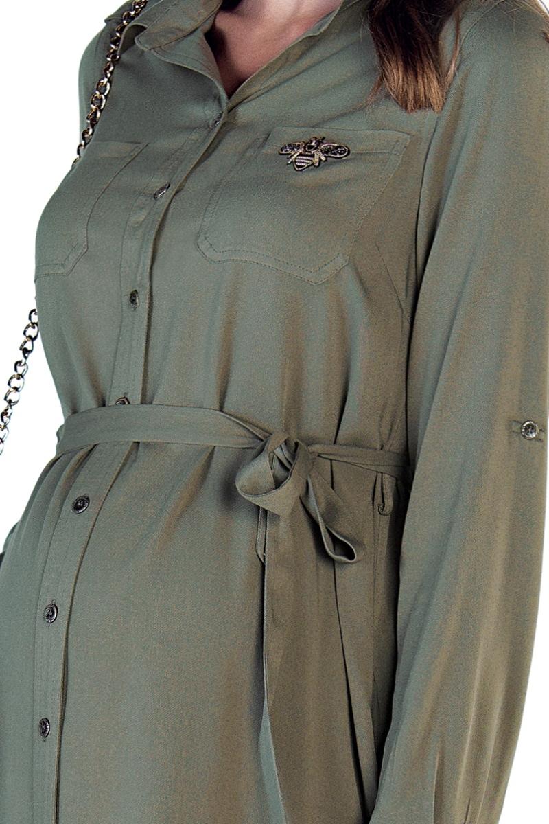 Фото платье-рубашка для беременных EBRU от магазина СкороМама, хаки, размеры.