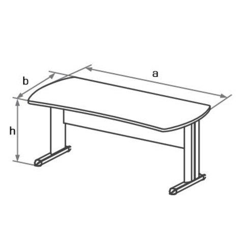 Стол письменный на L-образном металлическом каркасе БОСТОН