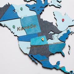 Карта мира из дерева blue фото 3
