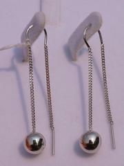 Протяжки с шариком (серьги из серебра)