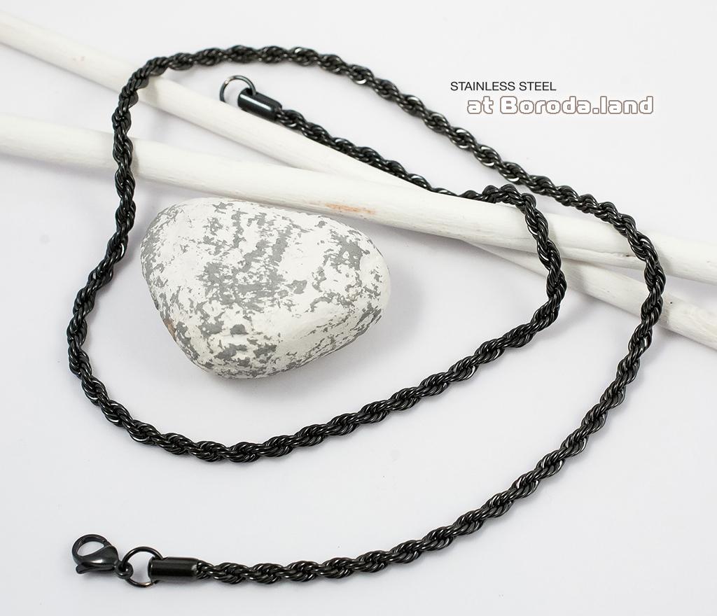PM182 Стальная цепочка черного цвета (55 см) фото 02
