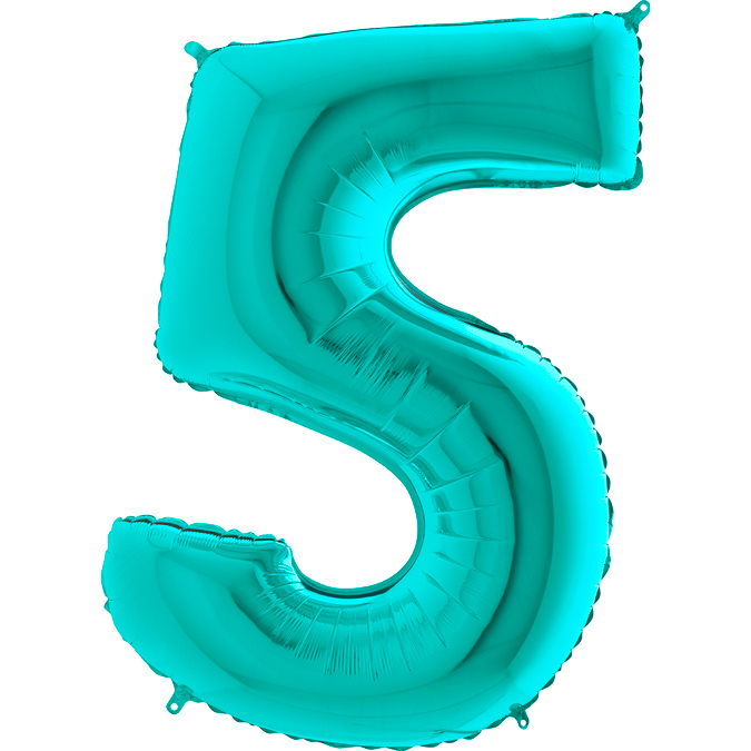 Цифра бирюзовая Тиффани 5