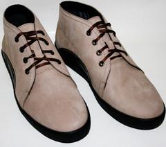 Кожаные кеды ботинки мужские демисезонные. Бежевые ботинки на толстой подошве. Нубук ботинки на шнуровке Ikoc Beige.