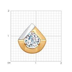 035459- Подвеска-капелька из двухцветного золота 585 пробы