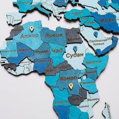Карта мира из дерева blue фото 4