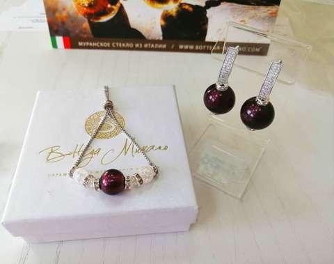 Комплект из браслета и серег со стразами Franchesca цвет Amethyst 042A