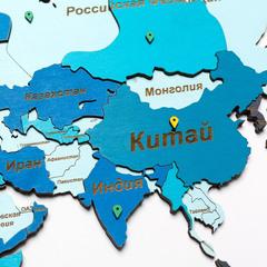Карта мира из дерева blue фото 5