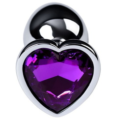 Анальная пробка сердечком с фиолетовым стразом (металл)