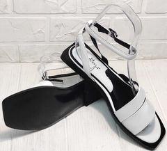 Белые босоножки на низком ходу сандалии женские кожаные Brocoli H1886-9165-S873 White.