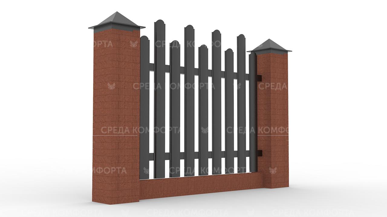 Забор из евроштакетника ZBR0054