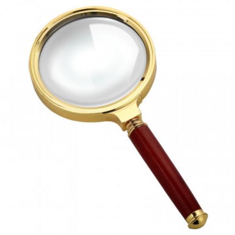 Лупа классическая, увеличение х6, диаметр 37мм, золото с коричневой ручкой