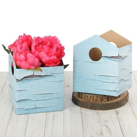Коробка–домик для цветов складная «Шебби», 15 х 19 см
