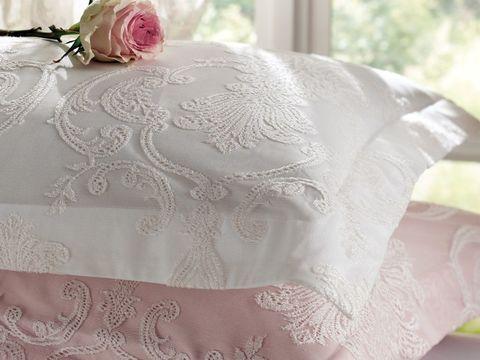 Постельное белье ALGARDI белый с кружевом  deluxe TIVOLYO HOME Турция