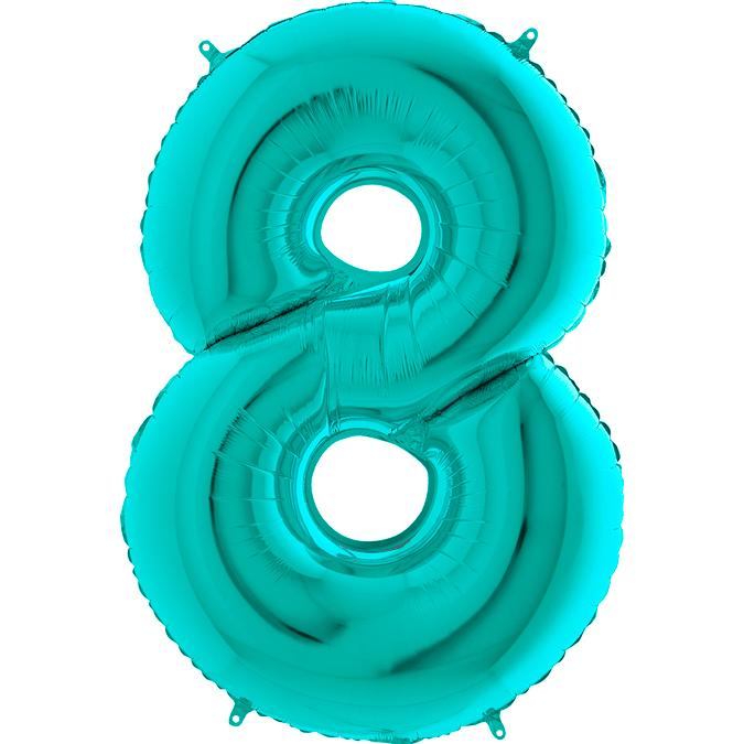 Цифра бирюзовая Тиффани 8
