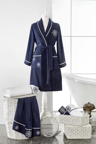 MARINE LADY  синий махровый женский халат  Soft Cotton (Турция)