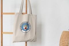 Сумка-шоппер с принтом FC Manchester City (ФК Манчестер Сити) бежевая 003