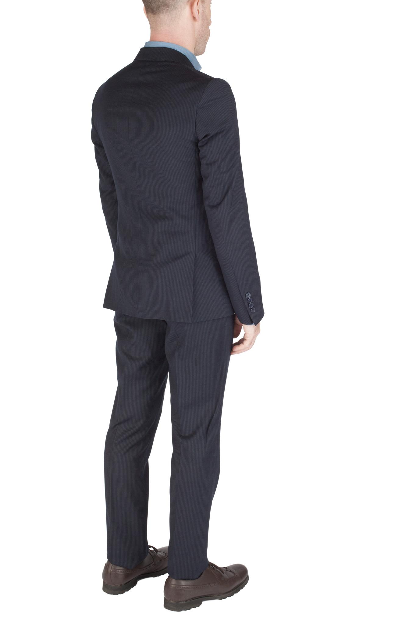 Тёмно-сине-серый костюм «в ёлочку» из 100%-ной шерсти