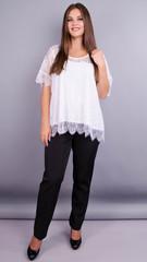 Квітка. Гіпюрова блуза size plus. Білий.