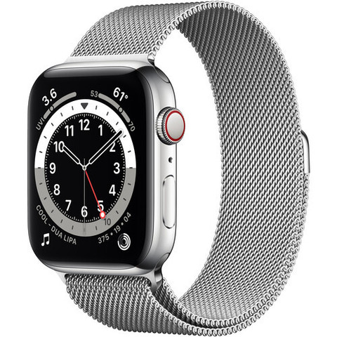 Часы Apple Watch Series 6 GPS + Cellular 44mm Stainless Steel Case with Milanese Loop (Серебристый) (M07M3,M09E3)