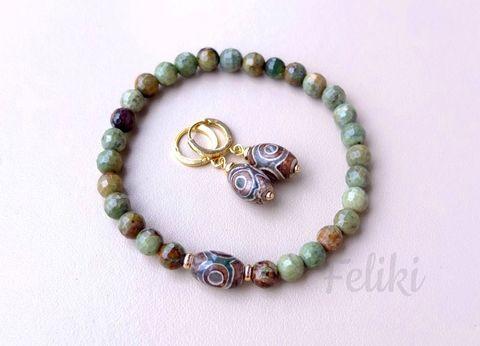 браслет и серьги яшма зеленая, фото