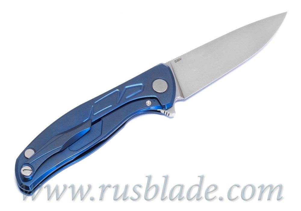 """Shirogorov Flipper 95 S30V """"Skrepka"""" Blue Anod - фотография"""
